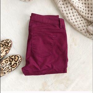 Tinsel Burgundy 50/50 skinny pants